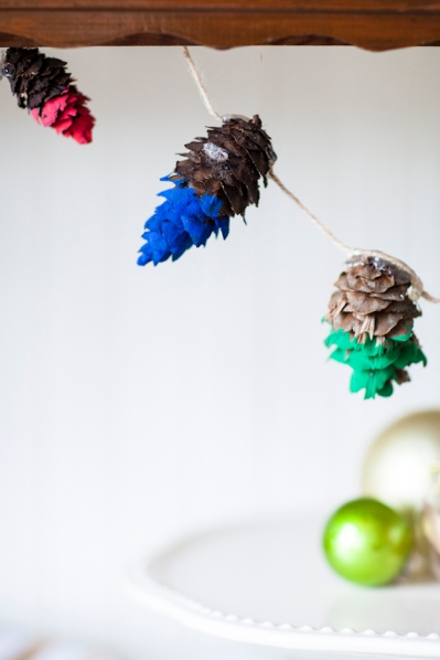 Hand dipped pine cones are a seasonal way to decorate, and bring a personal touch.