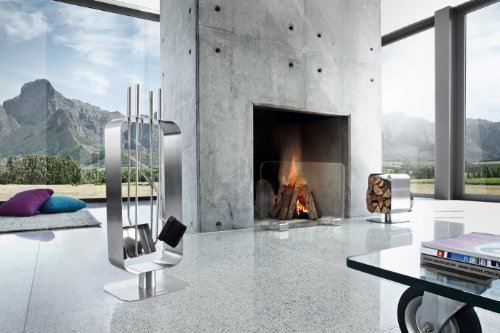 Modern can still create winter scenes.  Sleek stainless steel fireplace accessories are the perfect winter detail.