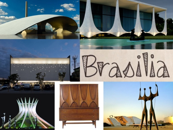 L-R clockwise: 1) Brazil military headquarters. 2) Palacio da Alvorada, the President of Brazil's residence. 3) Statues of the Candangos. 4) Broyhill Brasilia collection, introduced in 1962 at Seattle World's Fair. 5) Brasilia Cathedral. 6) modern office building.