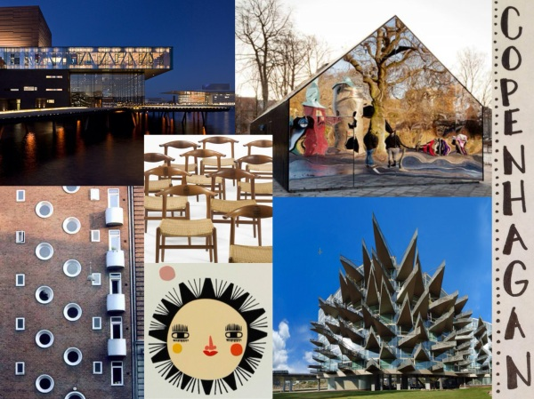 L-R clockwise: 1) The Royal Danish Playhouse. 2) Mirror House, Central Park Pavillion. 3) Spiked balconies at VW House residences. 4) Danish folk art. 5) Interesting windows. 6) Hans J. Wegner Wishbone chairs.