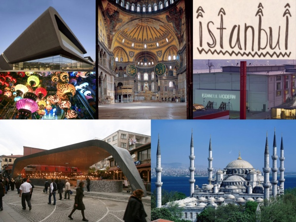 L-R Clockwise: 1) Prestige Mall. 2) Hagia Sophia, a former basilica, later a mosque, and now museum. 3) Instanbul Modern, art museum. 4) Sultan Ahmed Mosque. 5) Besiktas Fish Market, re-constructed with a modern aesthetic. 6) Lanterns at the Grand Bazaar.