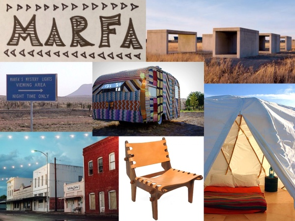 L-R Clockwise: 1) Donald Judd sculpture at Chinati Foundation. 2) Yurt at El Cosmico campgrounds. 3) Leather and wood handcrafted chair. 4) Downtown Marfa. 5) Directions to Marfa Lights viewing platform. 6) Crocheted Airstream trailer.