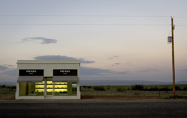 Prada Marfa, a permanent art installation by artists Elmgreen and Dragset, located 37 miles northwest of Marfa.