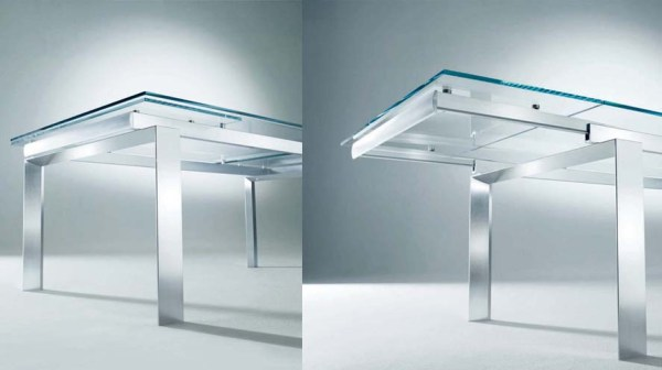 BonTempi's Label Table.  Extensions leaves are stored under the table and lift to fit flush to the existing table top.