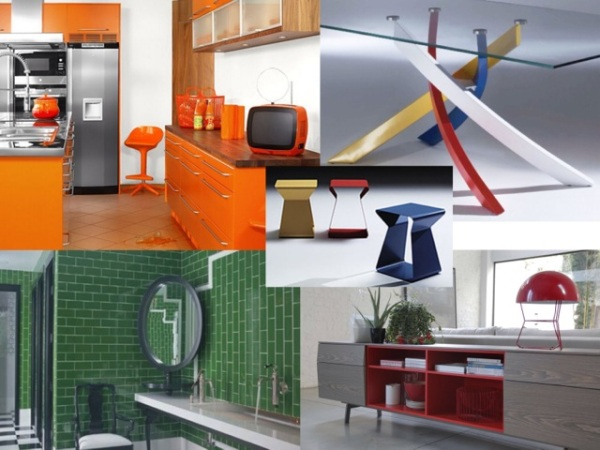 1.Artistico table with multi-color base. 2. Kito tables 3. Amsterdam buffet, all available from NEST. 4. Green tile bathroom. 5. Orange kitchen cabinetry.