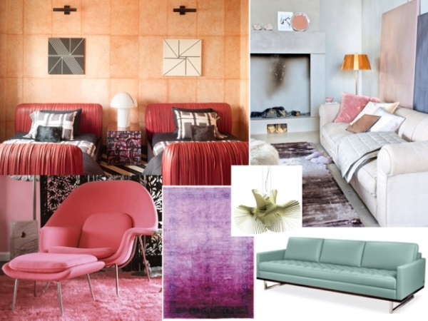 1. A hint of pastel pinks, adds soft color to a room of neutrals. 2. Mini Mikado light 3. Tristan sofa in mint green. 4. Overdyed purple rug. 5. Pink womb chair. 6. Peach wallpaper.