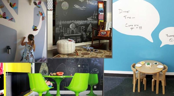 Examples of chalkboard and whiteboard walls for kids to express their creativity