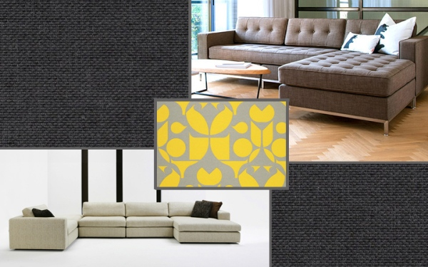 From top right clockwise: Maharam outdoor textile pattern Lodge, Gus' Jane Bi-Sectional with commercial grade fabric, Maharam outdoor textile pattern Mister, DellaRobbia's Chase with lifetime warranty on hardwood frame
