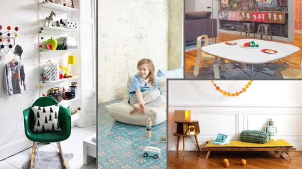 Fom right clockwise: Eames molded plastic rocker for kids, mini deconstructed lounger, modern kid table and chairs, low daybed with low side table