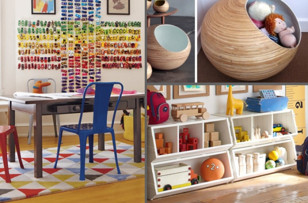 From top right clockwise: creative toy storage with magnets on the wall to hold toy cars, beautiful bins, and low shelves that they can reach