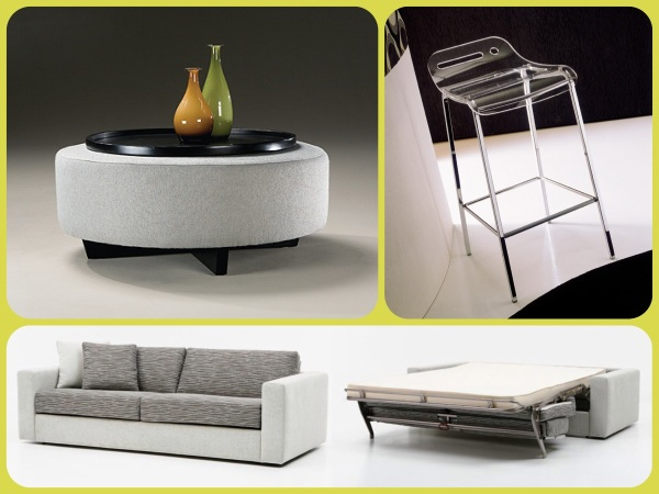 Clockwise L - R 1. Clip ottoman with tray, 2. Open acrylic barstool, 3. Alice sleeper sofa. All available through NESTModern.
