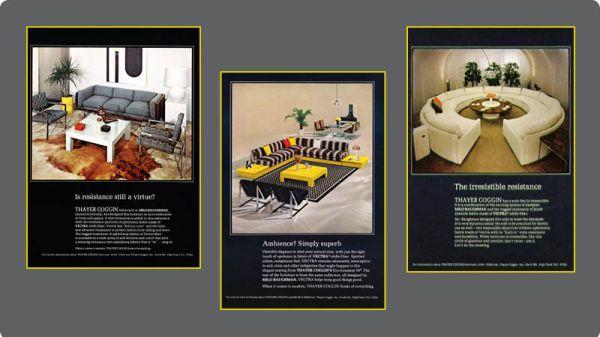 Vintage Thayer Coggin ad's featuring Milo Baughman's designs.