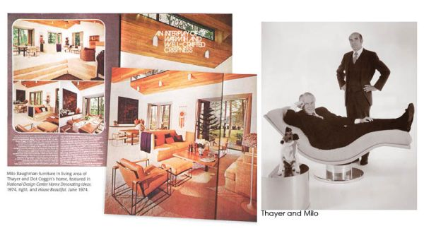 Dot and Thayer Coggin's house featured in House Beautiful, Thayer and Milo