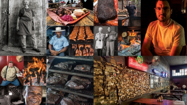 Texas Monthly's collage for the top 50 barbecue joints in the state.