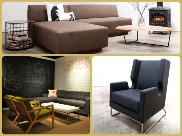 GUS Modern: Jarvis Bi-Sectional, Janes Bi-Sectional, Truss Chairs, Henry Ottoman, and Danforth Chair