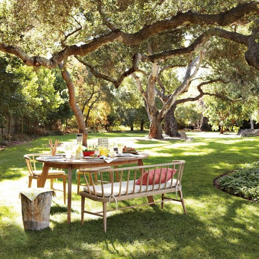 Use the trees to provide shade for your outdoor dining.