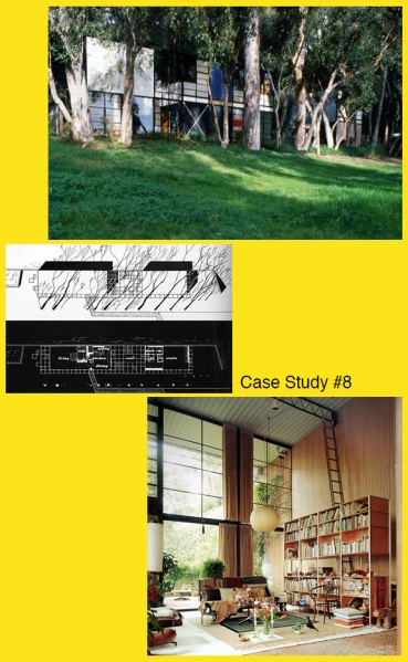 The exterior, blueprints, and main living area of Case Study #8
