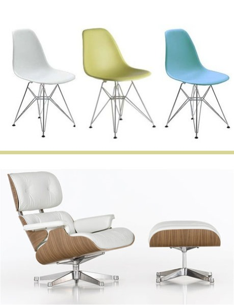 Molded Plastic Eiffel Side Chairs, and Eames Lounge Chair