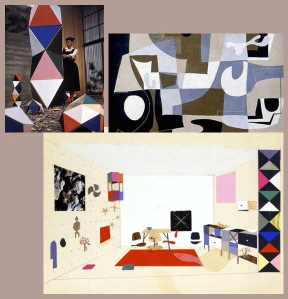 Examples of Ray Eames sculptures, drawings, and paintings.