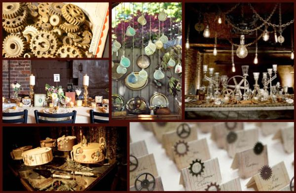 Using edible gears, vintage teacups, and a mix of old and new these party ideas are great examples of how to pull off a steampunk dinner party.