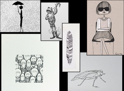 A variety of black and white sketches from Etsy.  Group together for a gallery wall, or hang separately to fill that small space.