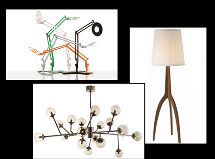 From top right clockwise.  The Link Task Lamp provides direct, bright light, but still keeps it soft so it won't hurt your eyes.  The Linden lamp is perfect when you need ambience lighting with style.  The Dallas Chandelier is unique, glamorous, modern, and makes the perfect statement in any room.