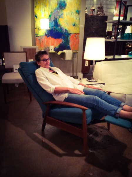 This party-goer found her new comfort spot with the Thayer Coggin Viceroy Lounger.