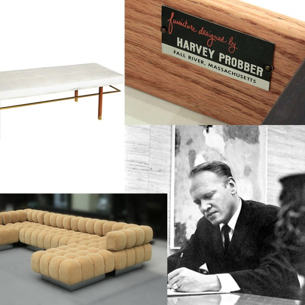 "Harvey Probber is the father of the sectional.  He introduced modular seating  from the theory, ""the key to salvation was in bits and pieces of plane geometry… they were meaningless alone, but when fused to conventional shapes, profoundly altered their character."""