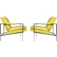 These modern Design Classic chairs get a fresh make over with yellow leather.
