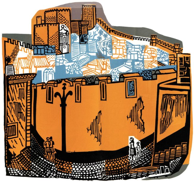 Portugal linocut by Bawden